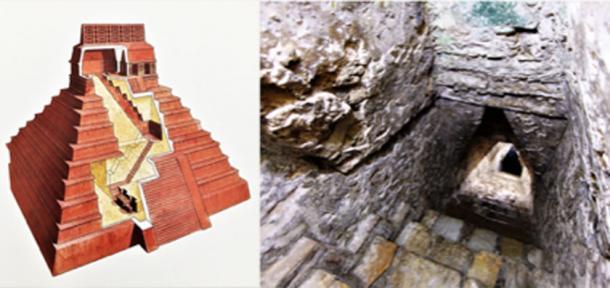 A la izquierda - Templo de las Inscripciones, corte. A la derecha - Primer tramo de escaleras. (Philip Winton-Autor suministrado / © georgefery.com)