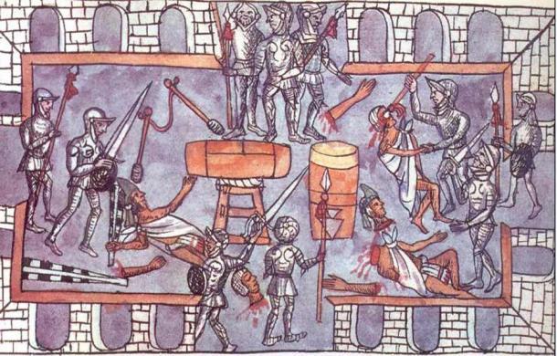 Las tensiones crecieron entre los españoles y los aztecas, que culminaron con una masacre de las élites aztecas en el Gran Templo de Tenochtitlan a manos de los españoles durante el Festival de Toxcati en 1520. (Dominio público)