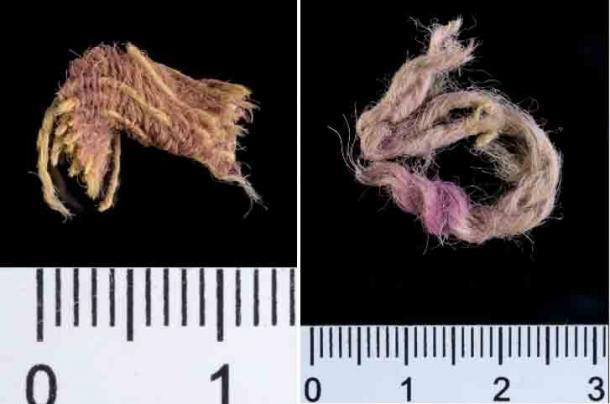 Fragmento de tejido de lana decorado con hilos teñidos con Royal Purple, 1000 a.C., Timna Valley, Israel. (Dafna Gazit, cortesía de la Autoridad de Antigüedades de Israel)