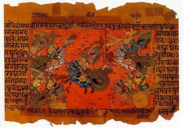 Los textos hindúes antiguos describen grandes batallas que tienen lugar y un arma desconocida que causa una gran destrucción. Una ilustración manuscrita de la batalla de Kurukshetra, registrada en el Mahabharata. Fuente de la imagen: Wikipedia