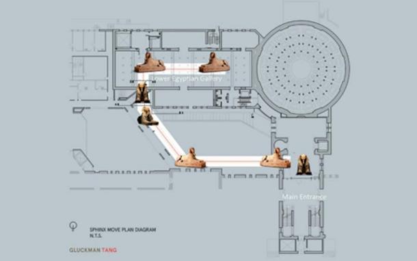El curso de 76 metros de la esfinge viajó a su nueva ubicación en el vestíbulo principal. (Penn Museum)