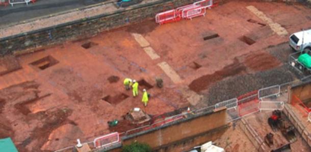 El área de construcción donde se encontró el fuerte romano. (Ayuntamiento de Exeter)