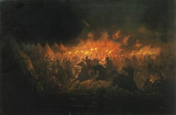 'La batalla con antorchas' del pintor rumano Theodor Aman. Representa el ataque nocturno de Târgovişte, una escaramuza librada entre las fuerzas de Vlad III el Empalador de Valaquia y Mehmed II del Imperio Otomano el 17 de junio de 1462. (Dominio público)