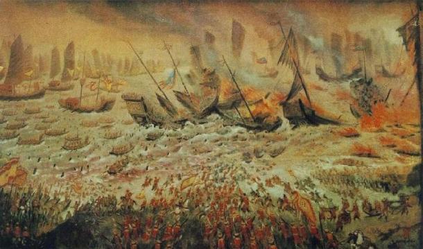 La batalla de Bach Dang, 1288. (Dominio público)