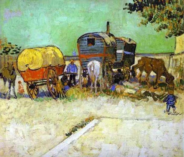 'Las caravanas - Campamento de gitanos cerca de Arles' de Vincent van Gogh. (Dominio público)