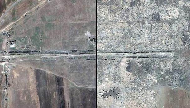Izquierda: La gran calle de la columnata en julio de 2011. Derecha: La gran calle de la columnata ahora, llena de agujeros excavados por saqueadores. Crédito: Google Inc.