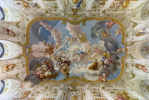 La armonía entre la religión y la ciencia, un fresco del techo de 1735, ubicado en la abadía de Seitenstetten. (Uoaei1 / CC BY-SA 4.0)