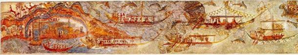 """Fresco de la """"Procesión"""", Sala 5, West House, Akrotiri. (Blogger de historia del arte) Muestra una flotilla de cascos blancos de islas comerciales rindiendo tributo en cabeza de manada a los Carianos (Marines) 1,500 a.C."""