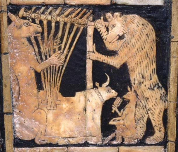 El segundo de la imagen inferior en la Lira de cabeza de toro. (Museo de Penn)