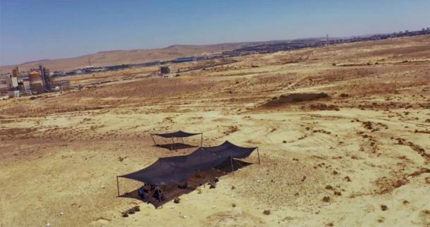 El sitio donde se encontraron las herramientas de Levallois de Nubia en el desierto de Negev. (Emil Eladjem, Autoridad de Antigüedades de Israel)