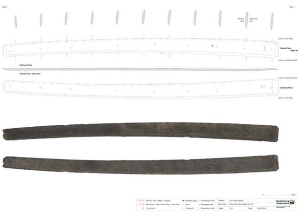 Los dibujos técnicos del naufragio vikingo se agregaron al catálogo de la madera al final del informe publicado, lo que permitió a los investigadores examinar cada madera en detalle. (Landesamt für Kultur und Denkmalpflege Mecklenburg-Vorpommern)