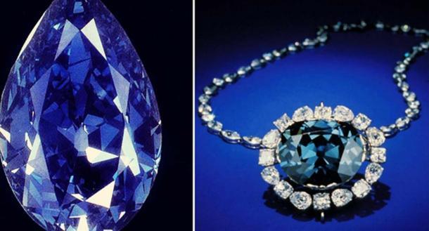 Los diamantes Tereshchenko y Hope (esperanza) , dos diamantes raros, azules y mundialmente famosos. (CC BY-SA 4.0)