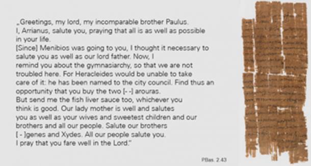 La transcripción de la carta cristiana - papiro P.Bas. 2,43. (Universidad de Basilea / Uso Justo)