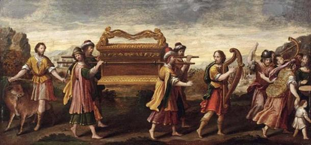 """""""La transferencia del arca por el rey David que canta y baila"""". (Dominio público)"""
