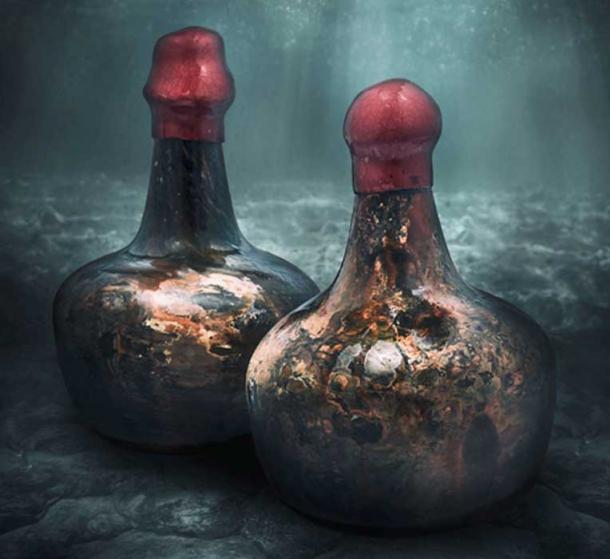 El tiempo ha juntado las botellas del vino del naufragio con un brillo de concha, y Christie's ha sellado las tapas con cera roja fresca. (Christie's)