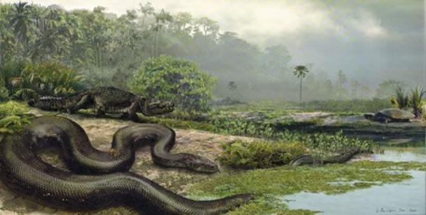 Titanoboa con un dyrosaur y una tortuga. (Jason Bourque/University of Florida)