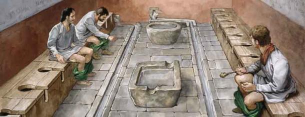 El baño de Helle solo tenía capacidad para tres, a diferencia de este baño público. (Herencia inglesa)