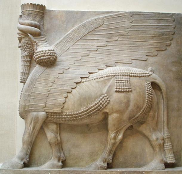 Toro alado con cabeza humana encontrado durante la excavación de Botta de la Ciudad Perdida de Dur-Sharrukin. (Jastrow / Public Domain)