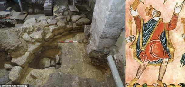 Se encontraron rastros de la abadía anglosajona durante los trabajos de renovación en la abadía de Bath. (Arqueología de Wessex) 966 d. C. Representación del rey Edgar I. (Dominio público)