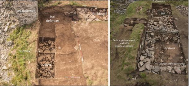 Izquierda: Fosa 2, excavación en la puerta del mar. Derecha: Trinchera 1, excavación del edificio B que muestra dónde se encontró la matriz de sellos Campbell del clan. (Darko Maricevic ̌ / Antiquity Publications Ltd)