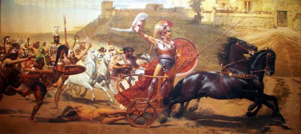 Triunfante Aquiles arrastrando el cuerpo sin vida de Héctor en Troya. (Dr.K. / Dominio público)