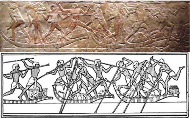 Dos representaciones de justas de agua del antiguo Egipto. (Dominio público) y (Universidad PennState)