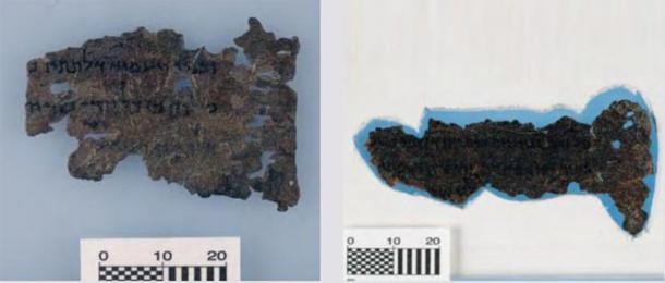 Dos de los fragmentos del Pergamino del Mar Muerto del Museo de la Biblia que muestran una posible línea de agujeros artificiales a la derecha. (Art Fraud Insights)