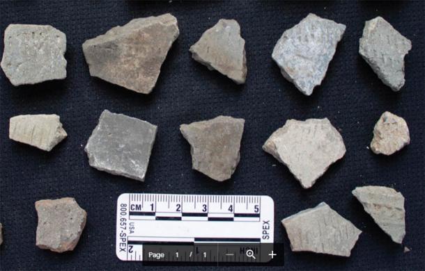 Una colección típica de fragmentos de cerámica encontrados durante la inspección de peatones en áreas alrededor del grupo 27. (Imagen: por los autores / Antiquity Publications Ltd)