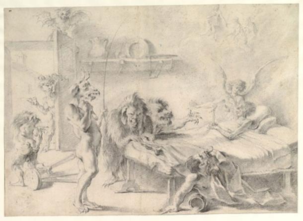 """""""Un anciano en su lecho de muerte tentado por demonios"""" (1675-1749) de Aureliano Milani. (CC0)"""