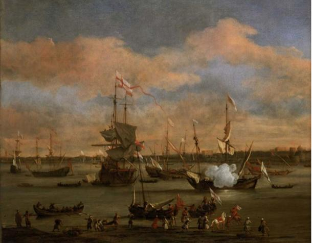 Un barco mercante inglés en un puerto mediterráneo por Willem van de Velde el más joven (dominio público)