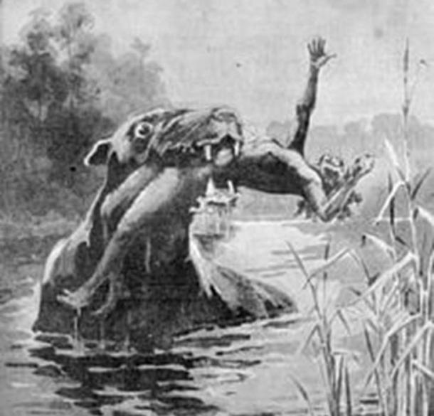 Un dibujo de 1890 de la extinta criatura, el bunyip de las noticias ilustradas de Australia. (Dominio publico)