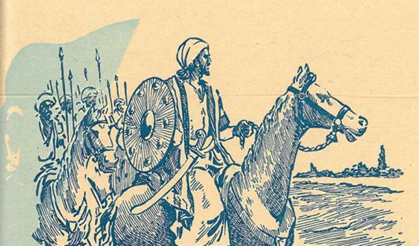 Un dibujo de Khālid ibn al-Walid encabezando el ejército musulmán durante la batalla de Yarmouk. (Dominio publico)