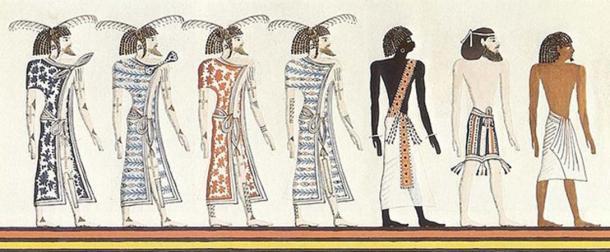 Un nubio, un sirio y un egipcio, dibujo de un artista desconocido en un mural de la tumba de Seti I; Copia de Heinrich von Minutoli 1820. Tenga en cuenta que los tonos de piel se deben al ilustrador del siglo XIX, no al original del Antiguo Egipto. (Nard the Bard / Dominio público)