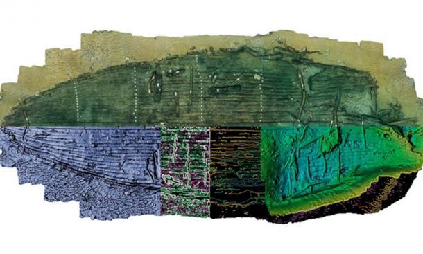 Un tratamiento artístico del nuevo naufragio egipcio descubierto por los arqueólogos marinos. La mitad superior del modelo ilustra el naufragio excavado. Debajo de esto, las áreas no excavadas se reflejan para producir un perfil completo de la embarcación. (Christoph Gerigk / Franck Goddio / Fundación Hilti)