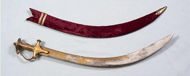 Una espada inscrita que pertenecía al tipu sultán. Crédito: Museo Nacional, Nueva Delhi.