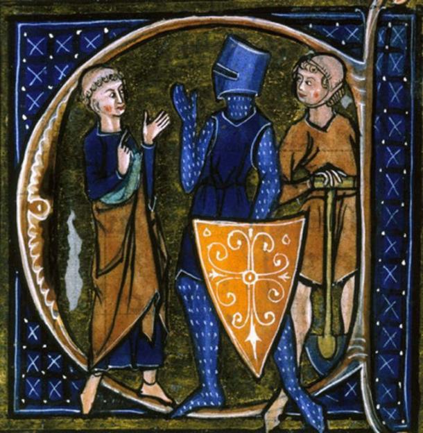Una inicial habitada de un texto francés del siglo XIII que representa el orden social tripartito de la Edad Media: los ōrātōrēs (los que rezan - clérigos), bellātōrēs (los que luchan - caballeros, es decir, la nobleza) y labōrātōrēs (los que trabajo - campesinos y miembros de la clase media baja). (Dominio publico)