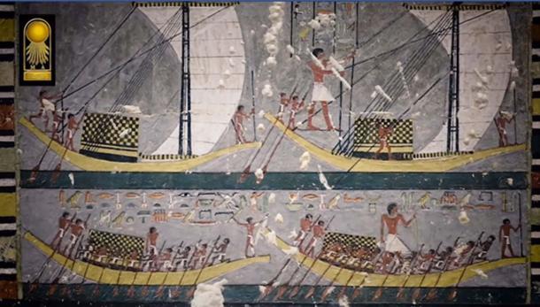 Una pintura en la tumba de Khuwy que representa barcos y remeros. Crédito: Captura de pantalla del video del Ministerio de Antigüedades.