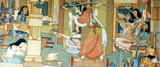 Primera pintura inequívoca sobre Maharani Durgavati, que se muestra preparándose para la Batalla de Narrai. (Dominio publico)