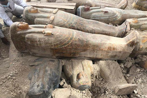 Parte del extraordinario escondite de ataúdes encontrado en la necrópolis de Assasif. (Ministerio de Antigüedades)