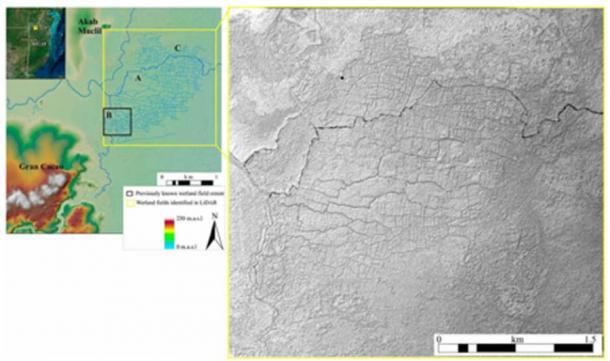 Áreas de campo de Aves del Paraíso (Izquierda, A – C) con el sitio maya de Akab Muclil y el Centro de Gran Cacao. La izquierda tiene una mejora de color para la elevación, y la derecha es un mapa de relieve sombreado del DEM. (T. Beach y otros / PNAS)