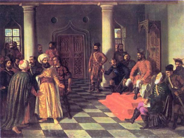 """""""Vlad el Empalador y los Enviados Turcos"""" por Theodor Aman. (Dominio publico)"""