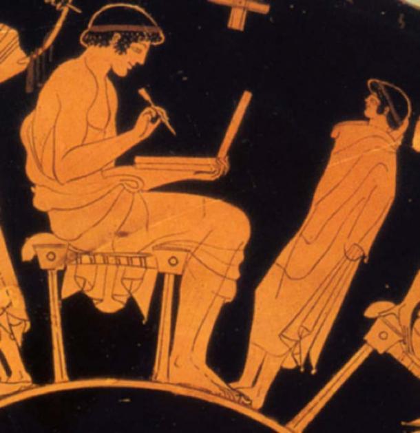 Hombre griego antiguo con tableta de cera. Pintura del pintor griego antiguo Douris (alrededor de 500 aC). (CC BY SA 3.0)