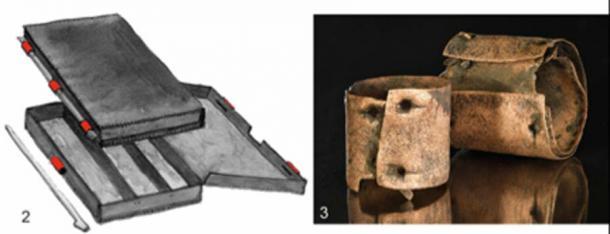 Izquierda: la reconstrucción de una caja de madera que incluye accesorios de bronce (marcados en rojo). Derecha: cilindros con clavos. Crédito: Antiquity Publications Ltd. / Uhlig et al., (2019), dibujos 1–2; después de Roscio et al. 2011; 3: foto de V. Minkus.