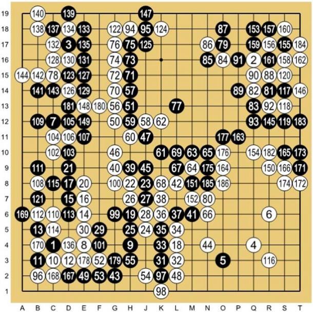 Lee Sedol (B) vs AlphaGo (W) - Juego 1. (Wesalius / CC BY SA 4.0)