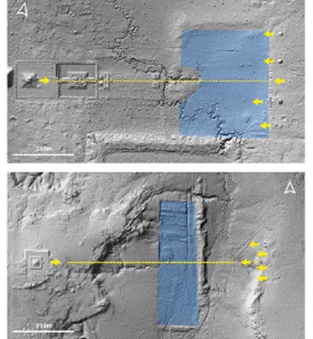 Eje y orientaciones de la pirámide central, reservorio y santuarios asociados en Koh Ker (arriba) y Mahendraparvata (abajo). (Evans / Antiquity Publications Ltd)