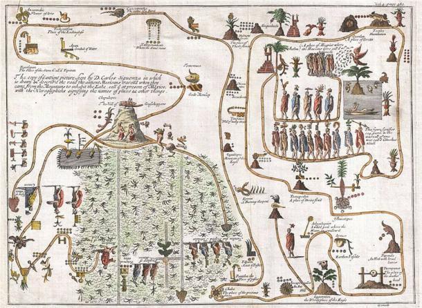 Este inusual mapa de 1704, dibujado por Giovanni Francesco Gemelli Careri, es la primera representación publicada de la legendaria migración azteca de Aztlán, un paraíso misterioso en algún lugar del noroeste de México, al Cerro Chapultepec, actualmente Ciudad de México. (Dominio público)