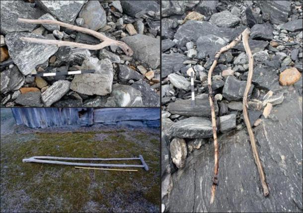 Arriba a la (izquierda) un objeto interpretado como una pinza (una pinza para sujetar el forraje en un trineo o carreta) que data de la Edad del Hierro romano tardío; (derecha) un objeto similar sin fecha, también del área de pase; abajo a la (izquierda) un ejemplo histórico de Uppigard Garmo, anterior a la fecha c. 1950. (Programa de arqueología glaciar y R. Marstein)