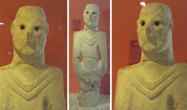 El hombre de Urfa con sus ojos vacíos, que se encontró no lejos de las tumbas de piedra de la Edad de Piedra recientemente descubiertas en Turquía. (Alistair Coombs)