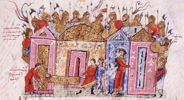 Guardias varegos en una ilustración de una crónica medieval. (Dominio público)