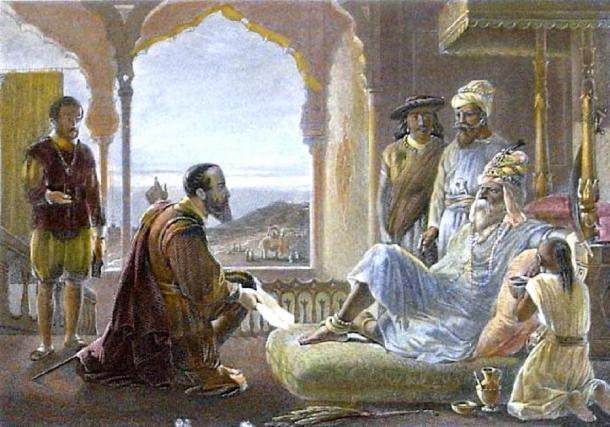 Vasco da Gama se encuentra con Zamorin. (Donaldduck100 / Dominio público)